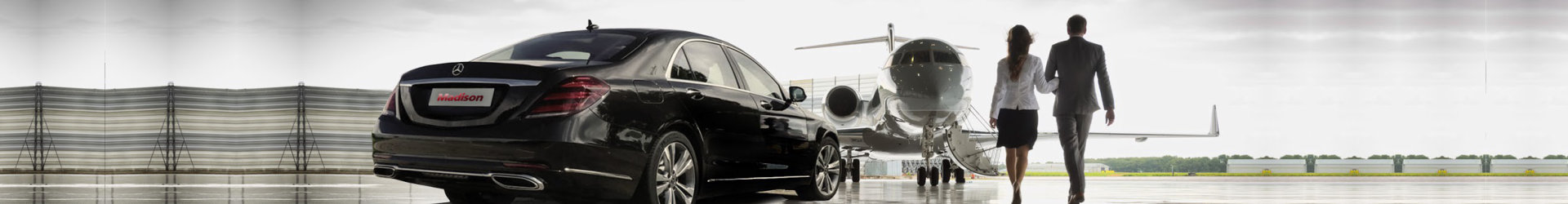 plane and a car with a couple